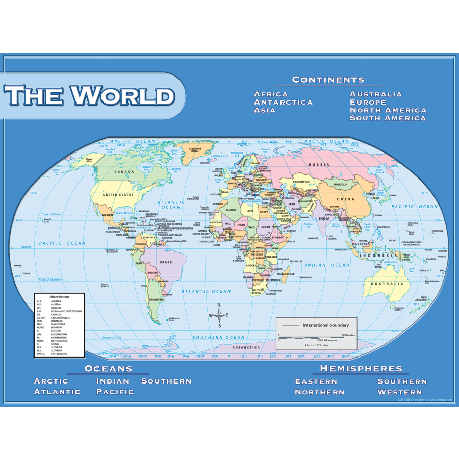 TCR 7658 WORLD MAP CHART