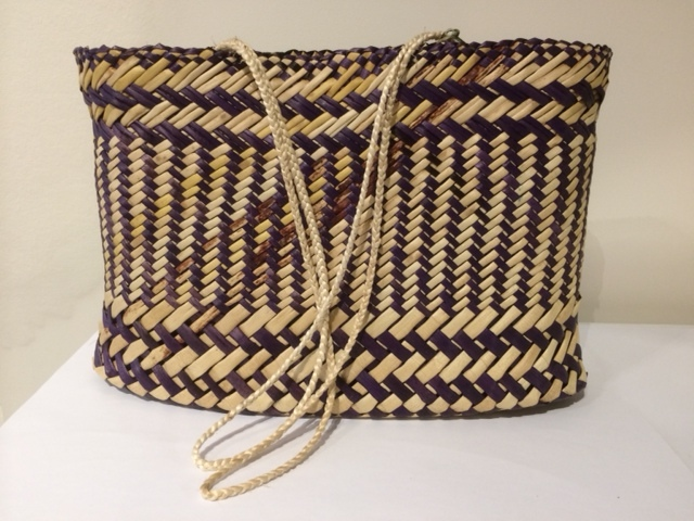 Kete - Split Vertical Twill - Purple, Natural with Muka