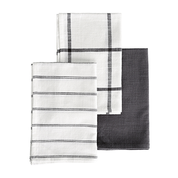 TEA TOWEL GREY/WHITE