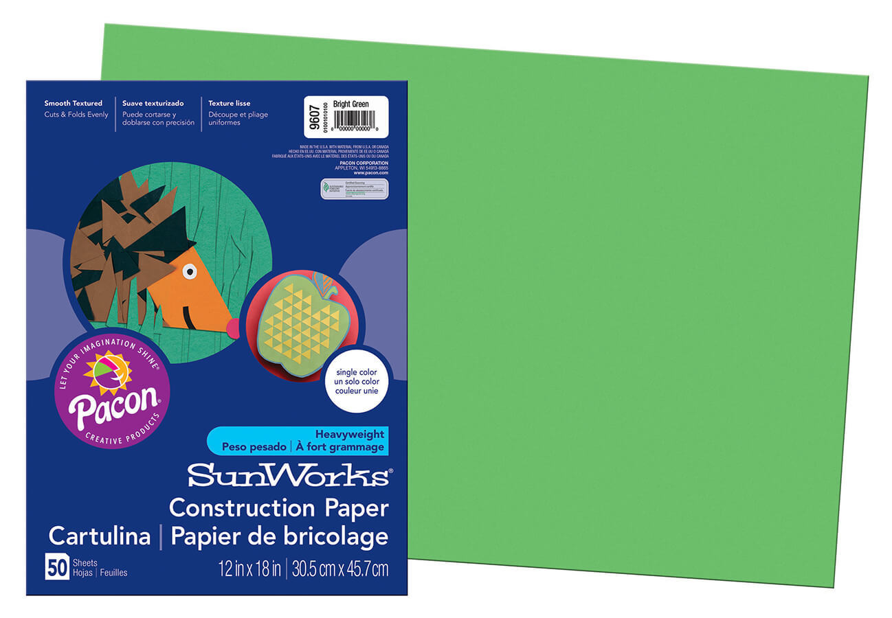 PA 9607 CONSTRUCTION PAPER 12 X 18 BRIGHT GREEN