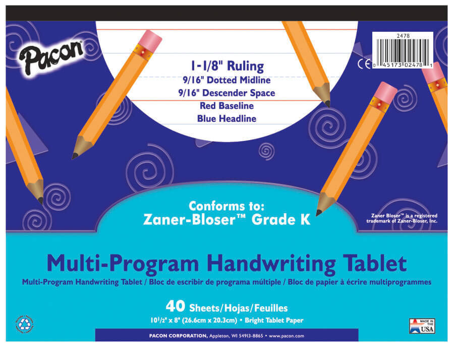 PA 2478 PREK AND K HANDWRITING TABLET