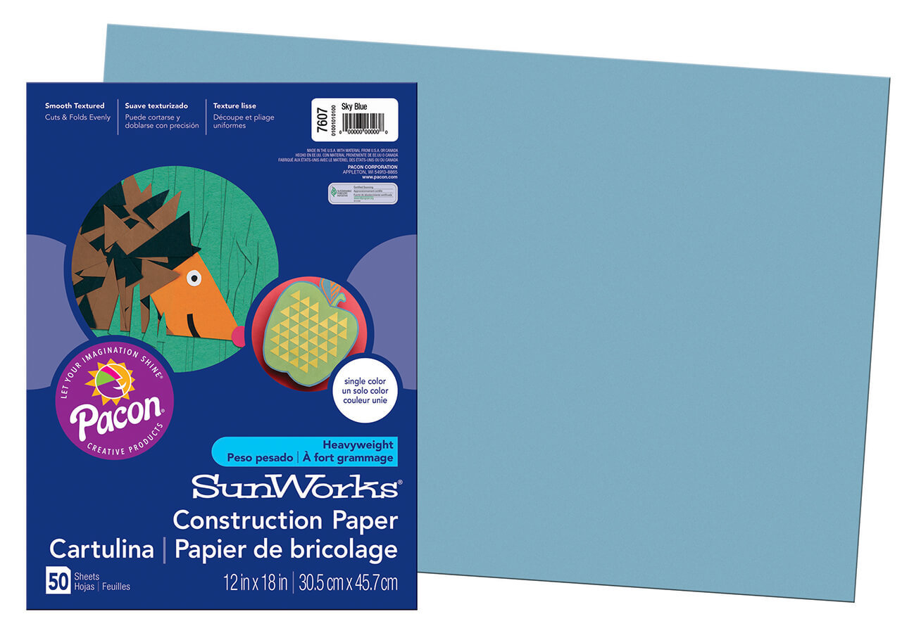 PA 7607 CONSTRUCTION PAPER 12 X 18 SKY BLUE