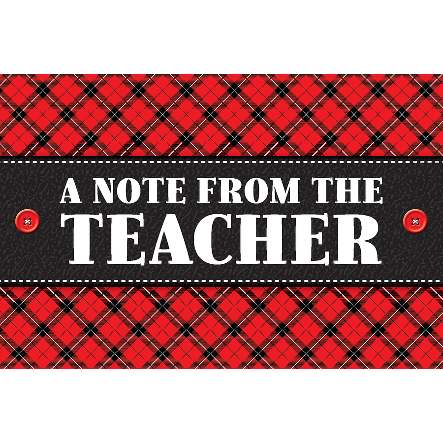 TCR 5666 PLAID NOTE FROM TEACHER POSTCARDS