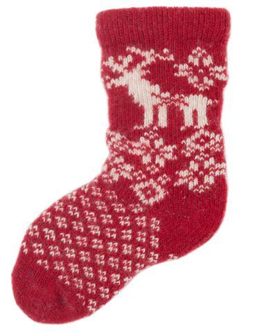 LISA B. - BABY WOOL+CASHMERE REINDEER SOCKS IN RED