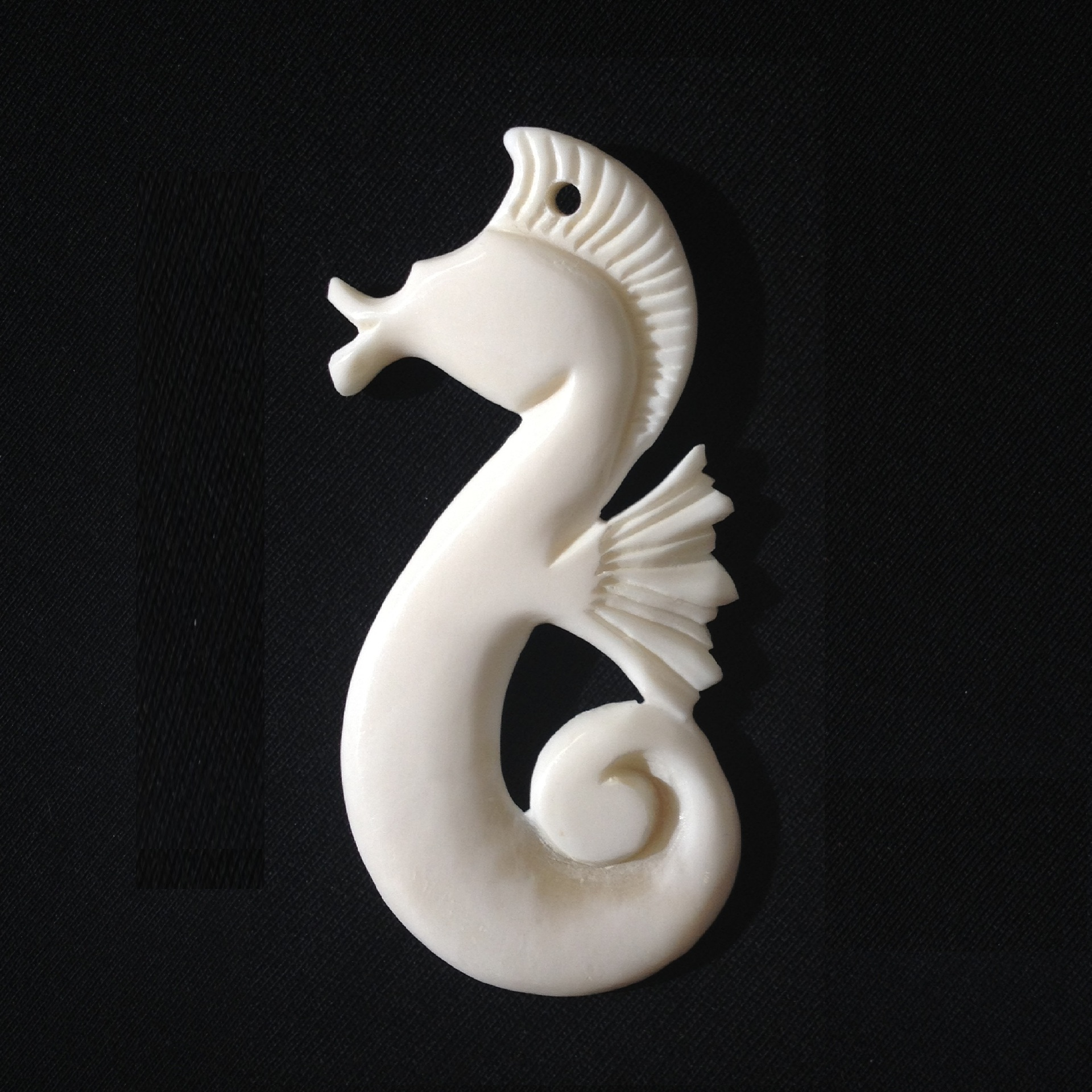 Carved Bone Seahorse with Koru