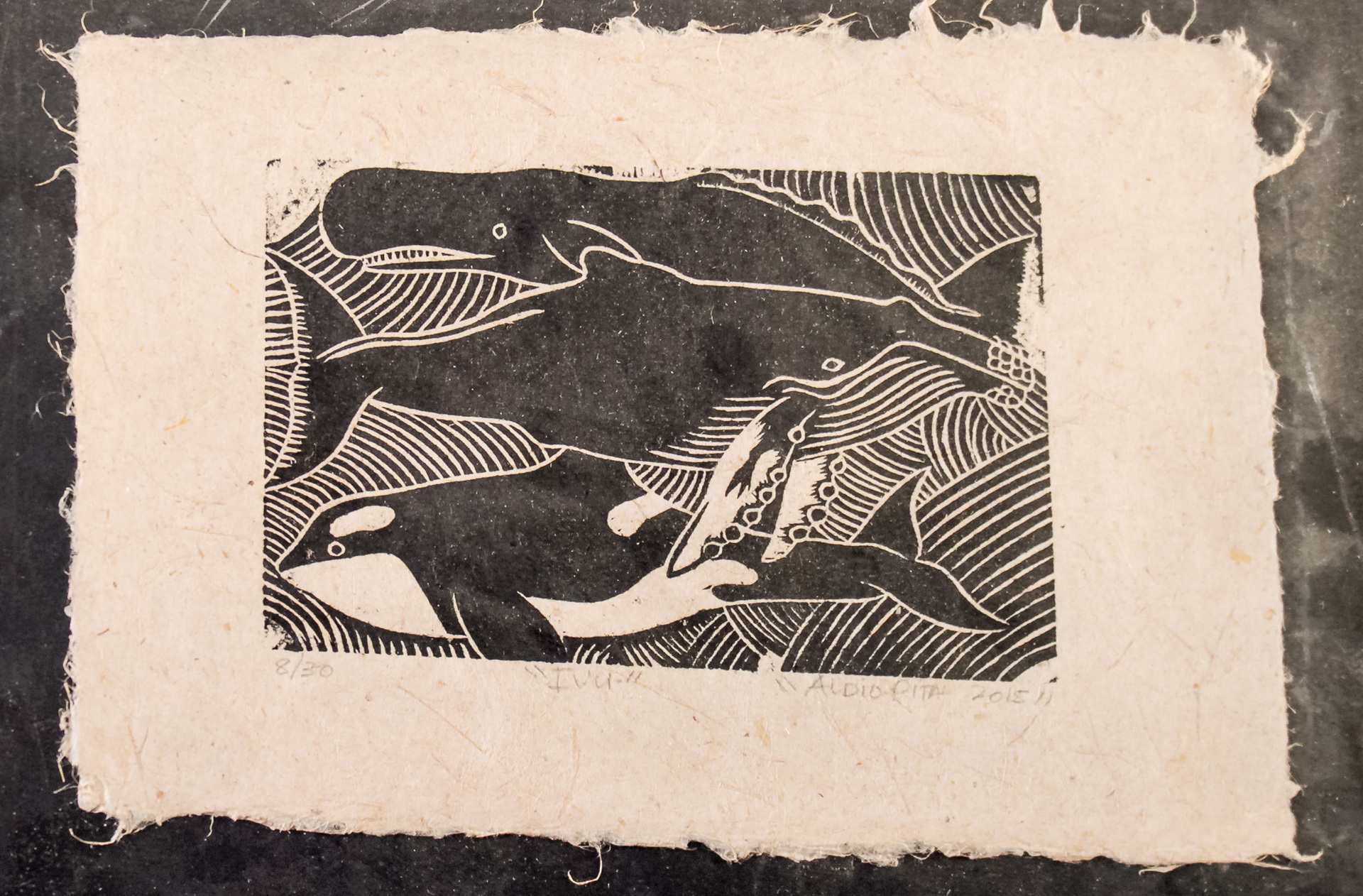 "A4 ""Ivu"" Whales Woodblock print on Herekeke Paper 8/30"