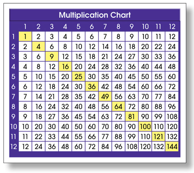 NS 9050 MULTIPLICATION CHART ADHESIVE DESK REFERENCE