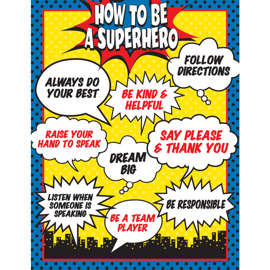 TCR 7550 HOW TO BE A SUPERHERO CHART