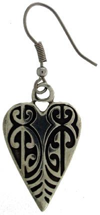Earring pewter heart kowhaiwhai x 2