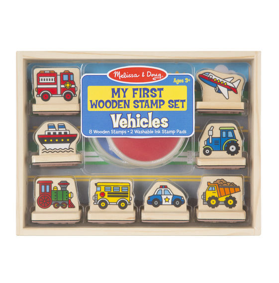 MD 2391 MY FIRST WOODEN STAMP SET VEHICLES