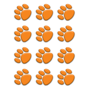 TCR 5122 ORANGE PAW PRINT MINI CUTOUTS