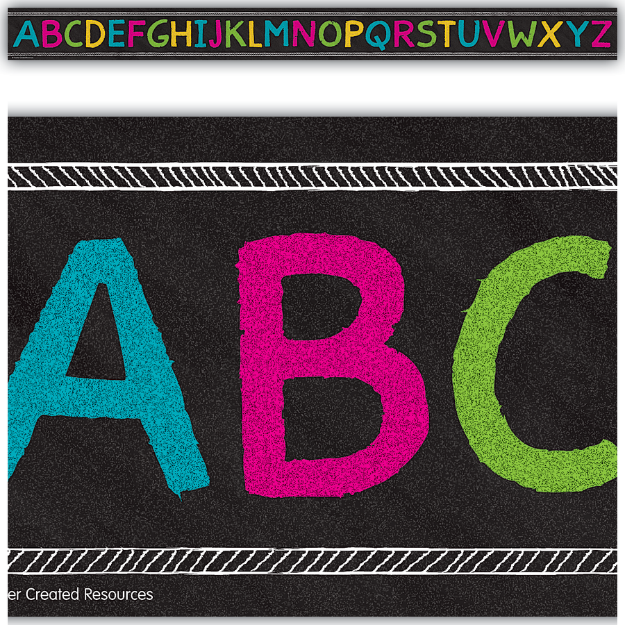 TCR 3477 CHALKBOARD BRIGHTS ALPHABET BORDER