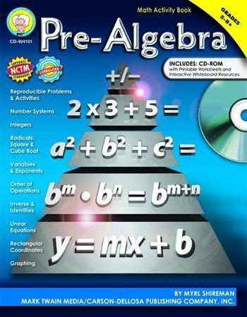 CD 404101 PRE-ALGEBRA MATH ACTIVITY BOOK W/CD G5-8+