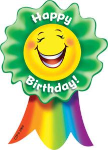 CTP 1085 HAPPY BIRTHDAY! SMILING RIBBON BADGES