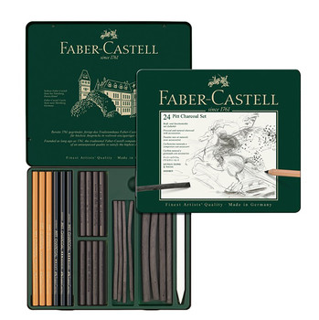 Faber Castell Pitt Charcoal Tin Of 24 Items