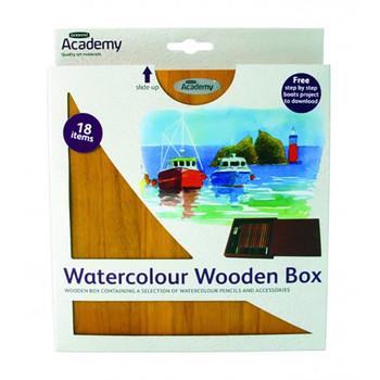 Derwent Academy Watercolour Small Wooden Box