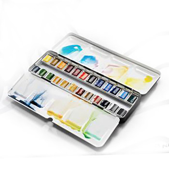 Artists' Watercolour Lightweight Metal Box 24 Half Pans