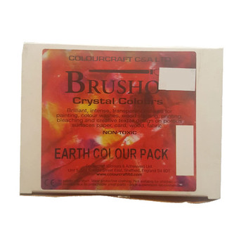 Brusho Assortment 5 conts.+ thickener Earth. Pack