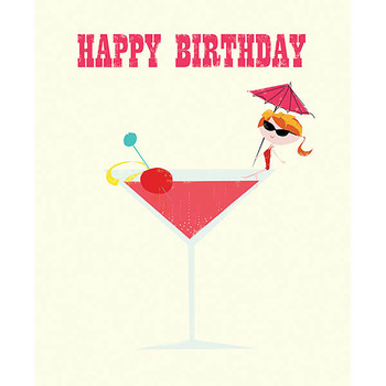Card - Happy Birthday cocktail
