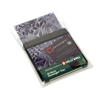 20 Black Zentangle tiles 89x89mm