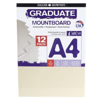 A4 Graduate Mountboard 12 pack Ivory