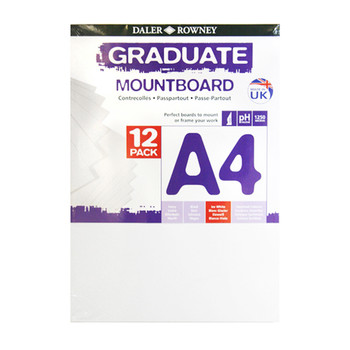 A4 Graduate Mountboard 12 pack Ice White