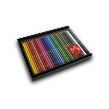 Wooden Box Of 30 Assorted Coloured Pencils.