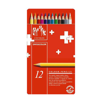 Caran D'Ache Swisscolor - Metal Tin With 12 Assorted Colours
