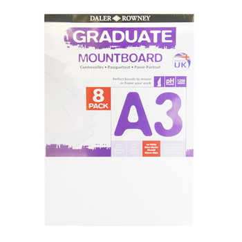 A3 Graduate Mountboard 8 pack Ice White