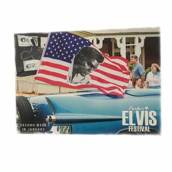 POSTCARD ELVIS AMERICAN FLAG
