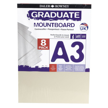 A3 Graduate Mountboard 8 pack Ivory