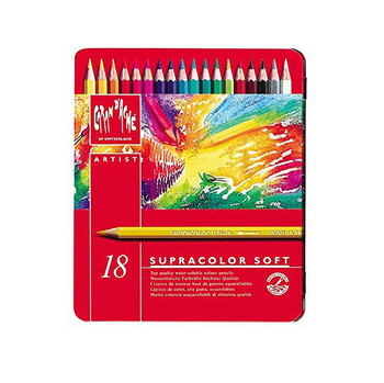 Caran D'Ache Supracolour Soft Metal Tin With 18 Assorted Colours