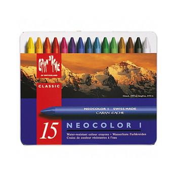 Neocolor I Water-Resistant Wax Pastels Metal Tin 15