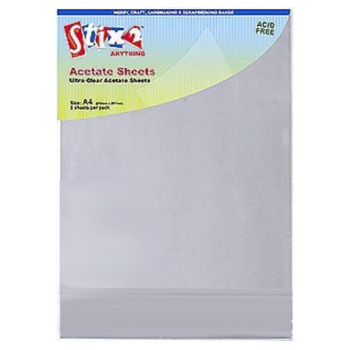 Clear Acetate Sheets A4 5 Sheet Pack 100 Micron