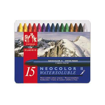 Caran D'Ache Neocolor II Water-Soluble Wax Pastels Metal Tin 15