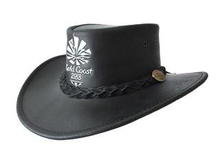Black Swagman Buffalo Leather Hat Image