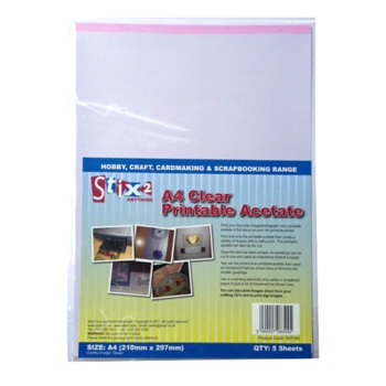 Clear Acetate Sheets A4 5 Sheet Pack 100 Micron Printable