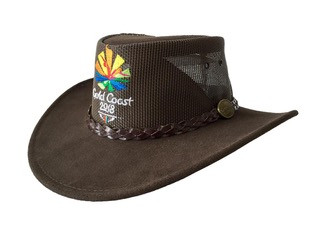 Brown Summer Breeze Cow Suede and Mesh Hat Image