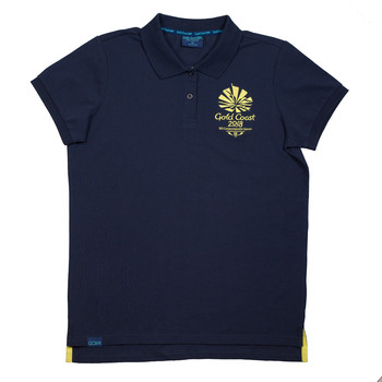 1 Colour Women's Emblem Pique Polo Navy Image