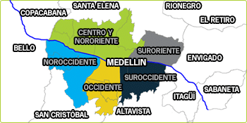 Municipios del Valle de Aburrá y Zonas de Medellín