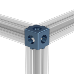 3-Way Extrusion End Connector with Panel Cutouts