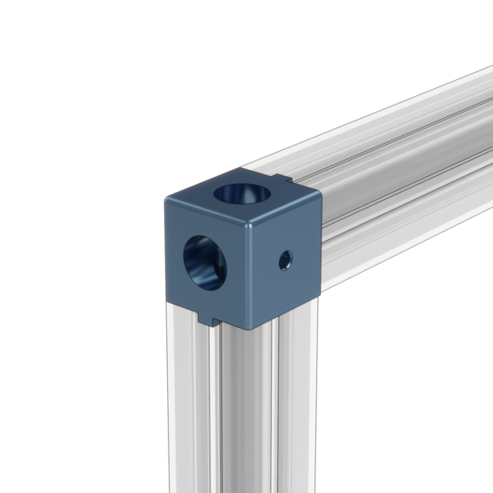 2-Way Extrusion End Connector with Panel Cutouts