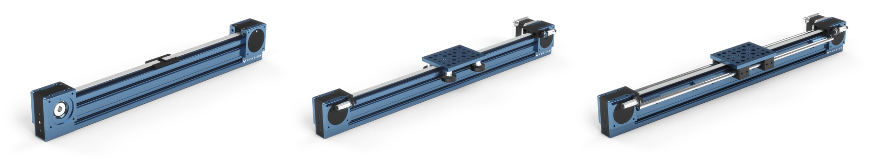Figure 2: View of the Timing Belt Actuator showing possible linear guide configurations with either roller whees, MO-LM-001-0027/0028 or linear bearings MO-LM-0140-XXXX and MO-LM-010-0001.