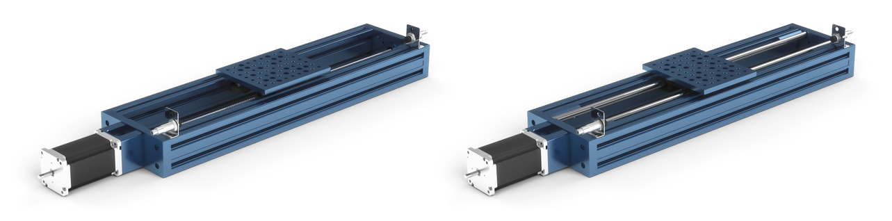 Left: Ball screw linear actuator shown with medium gantry \(MO-LM-001-0030\) and nylon V-shaped wheels.  Right: Exhibit 2. Ball screw linear actuator shown with medium gantry \(MO-LM-001-0030\) and linear bearings and shafts.