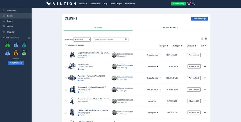 Vention My Team 2.0 Designs Dashboard