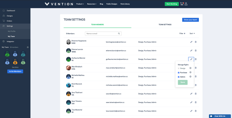 Vention My Team 2.0 Team Managment