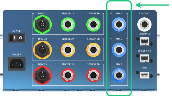 Figure 3: AUX ports on the MachineMotion1 controller