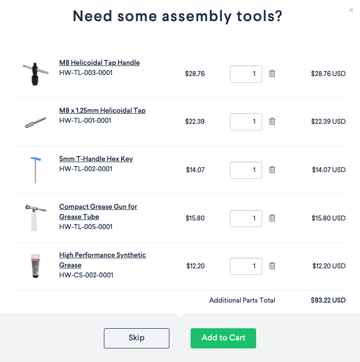 Vention Tools and Supplies