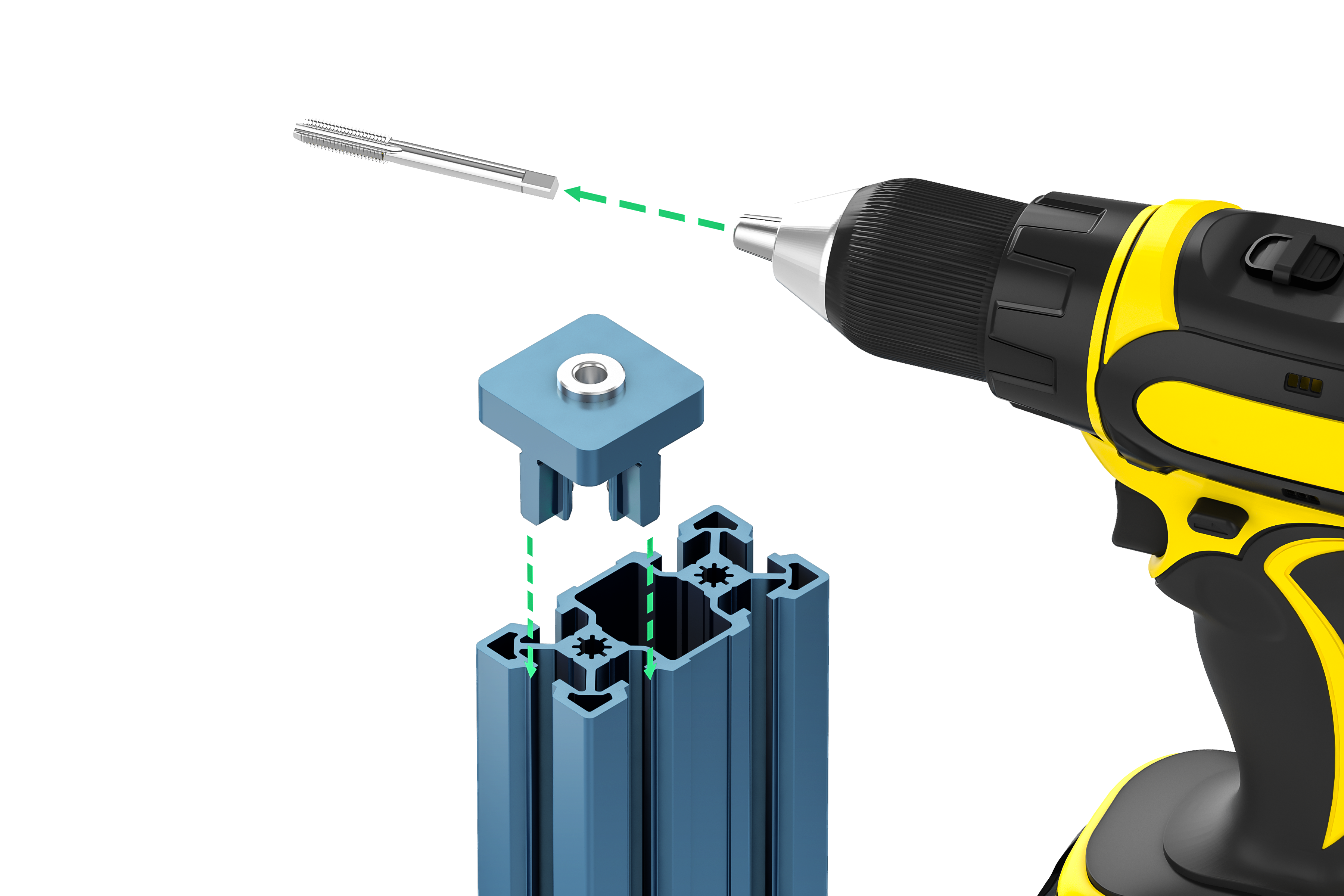 Tap and tool install with drill