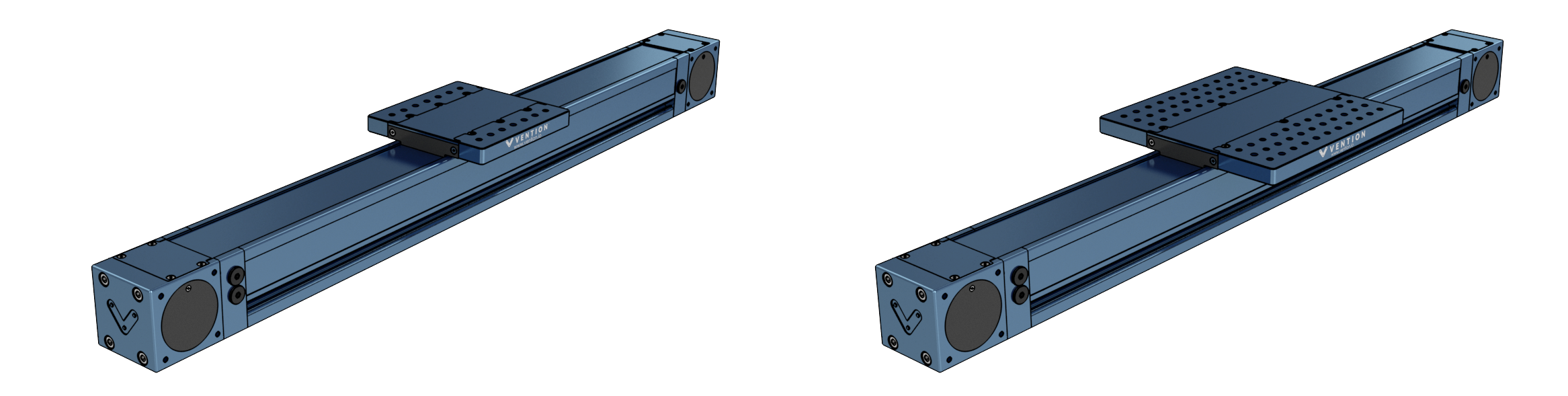 Figure 4: View of the Enclosed Timing Belt Actuator in its two configurations, standard duty, MO-LM-026-XXXX (left) and heavy duty, MO-LM-027-XXXX (right).
